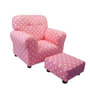 Brighton Home 1960PD Baby Pink with White Polka Dots Cotton Print Kid Chair & Ottoman Set