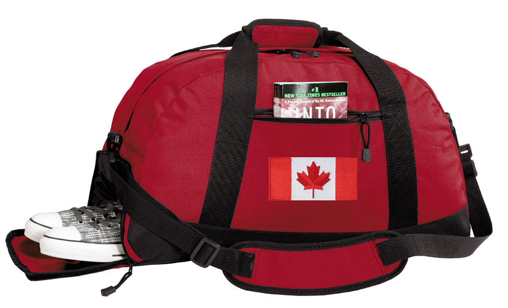 Canada Flag Gym Bags Canadian Flag Duffle Bag WITH SHOE POCKET! by