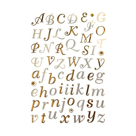 Italic Alphabet Letter Foil Stickers, 1-Inch, 62-Count, - Letter Stickers