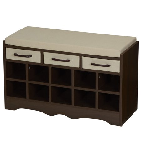 Household Essentials Entryway Storage Bench with Shoe (Prepac Cubbie Bench)