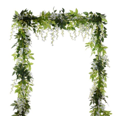 Coolmde 4Pcs 6.6Ft/piece Artificial Flowers Silk Wisteria Garland Artificial Wisteria Vine Rattan Silk Hanging Flower For Home Garden Outdoor Ceremony Wedding Arch Floral Decor (White)](Outdoor Wedding Decor)