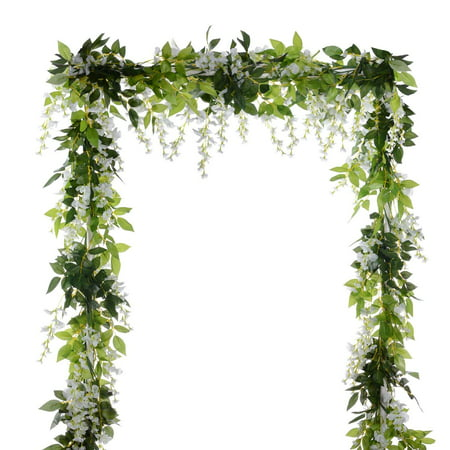 Coolmde 4Pcs 6.6Ft/piece Artificial Flowers Silk Wisteria Garland Artificial Wisteria Vine Rattan Silk Hanging Flower For Home Garden Outdoor Ceremony Wedding Arch Floral Decor (White)