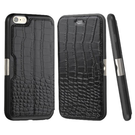 Insten For iPhone 6s 6 - Genuine Leather Crocodile Embossed Wallet Flip Case Stand Cover with Card Slot holder - Black (Gift Idea) ()