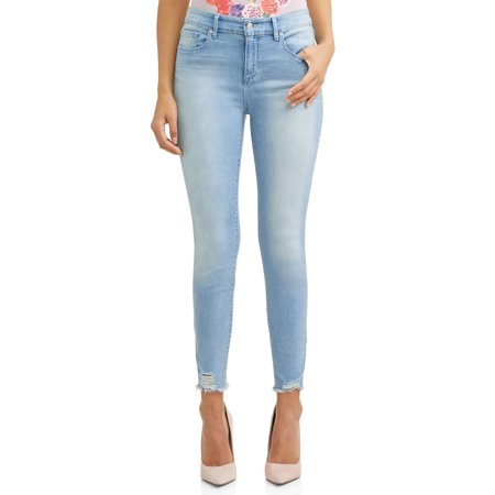 Rosa Curvy High Waist Ripped Hem Ankle Jean Women's (Light Blue Wash) Carhartt Flannel Lined Jeans