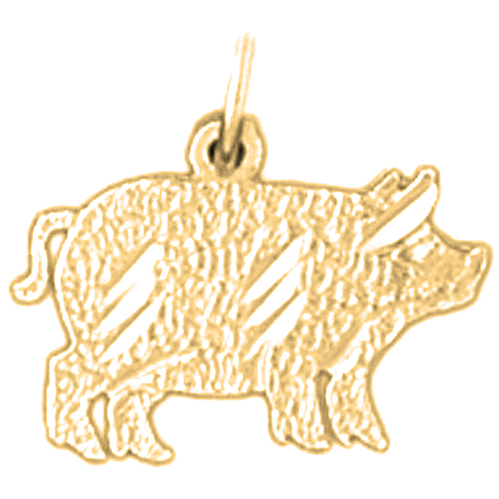 18K Yellow Gold Pig Pendant - 14 mm