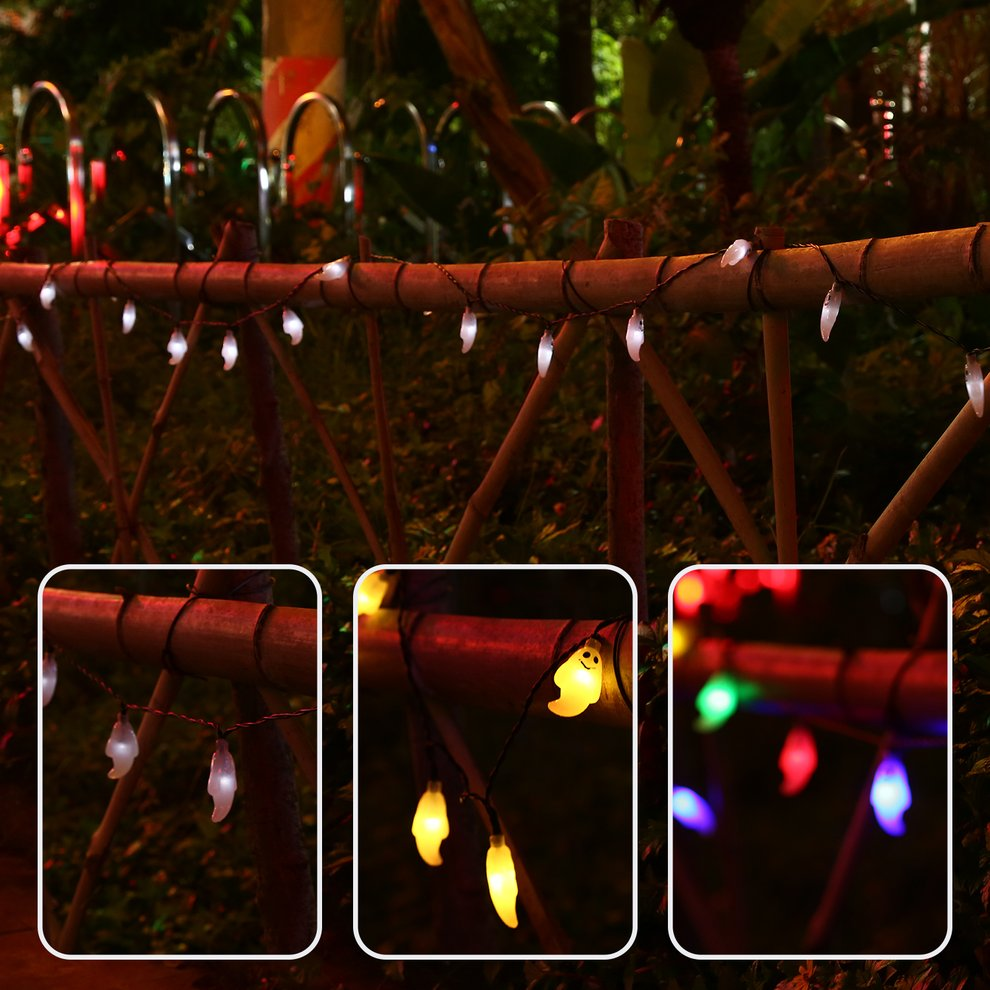 20 LED Ghost Solar String Lights with Solar Panel Waterproof Outdoor Halloween Christmas Home Parties Garden Decoration by
