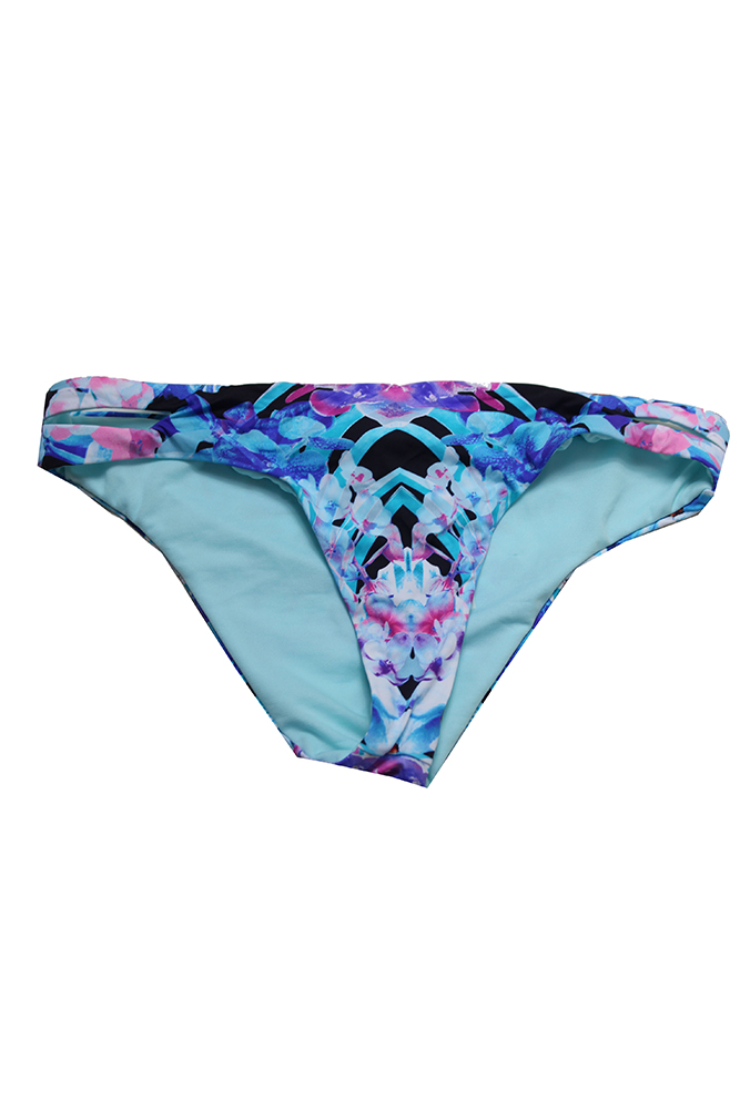 Bar Iii Blue Black Printed Hot Tropic Keyhole Hipster Bikini Bottom L