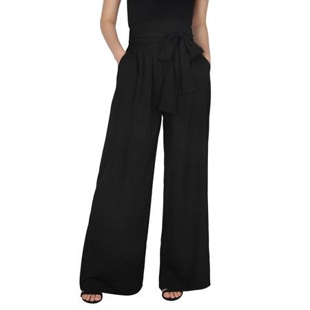 HDE Womens High Waisted Pants Wide Leg Palazzo Pant Trousers with Pockets & Belt