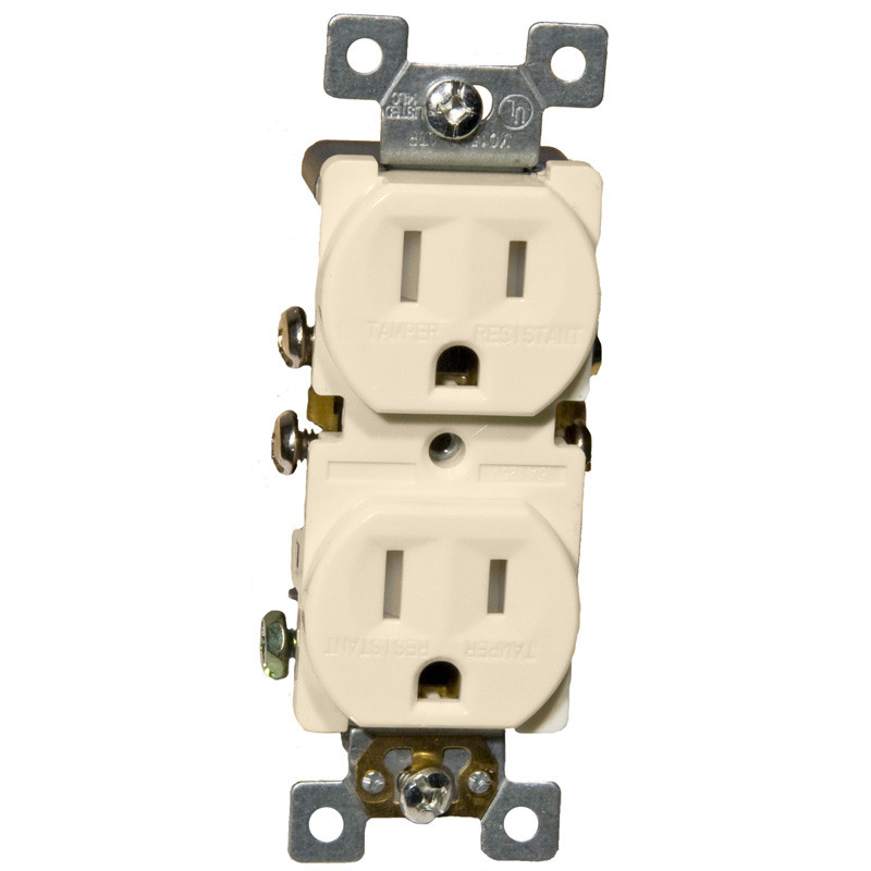 Morris Products 15A-125V Standard Tamperproof Duplex Receptacle in Almond