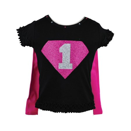 Reflectionz Little Girls Black Fuchsia Super Girl Birthday Cape T Shirt 2T 6