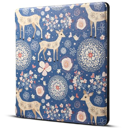 AMZER Reindeer Blue Print Horizontal Flip PU Leather Protective Case For Amazon Kindle Oasis 7 inch ()