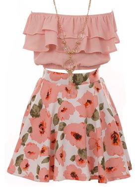 2e90ad3046d9 Product Image Big Girl 3 Pieces Ruffle Sleeve Off Shoulder Crop Top Floral Clothing  Skirt Set Set Blush
