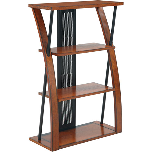 Office Star Products Aurora Bookcase, Medium Oak with Black Accents
