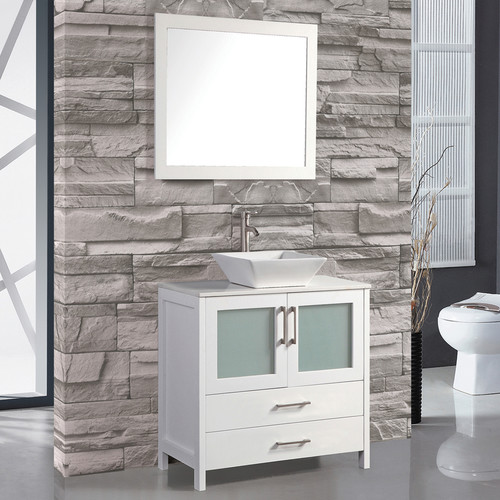 MTD Vanities Jordan 30'' Single Sink Bathroom Vanity Set with Mirror