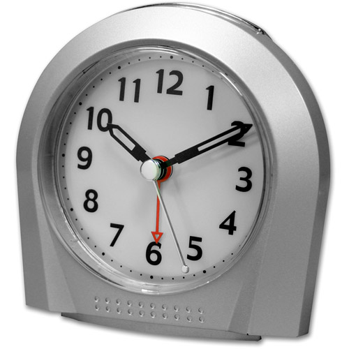 Equity Silver Silent Sweep Analog Alarm Clock by Equity