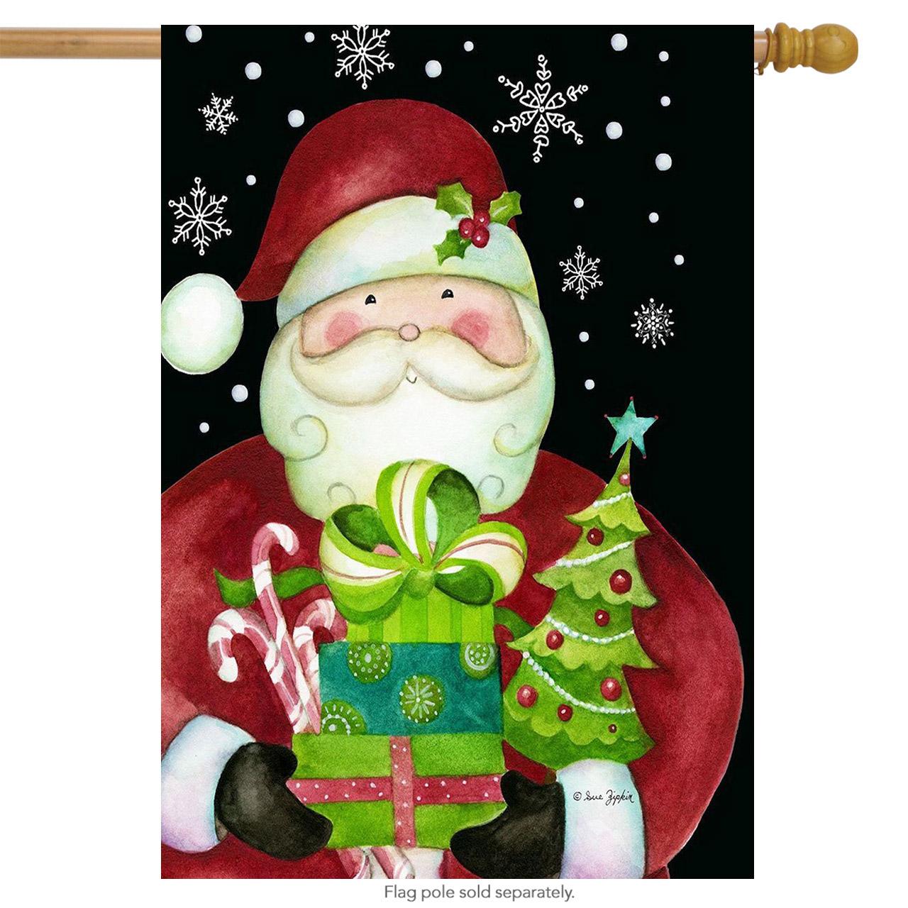 "here comes santa christmas house flag presents holiday 28"" x 40"" briarwood lane"