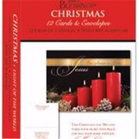 Card-Boxed-Shared Blessings-Christmas-Red Candles with Pinecones (Box Of 12)