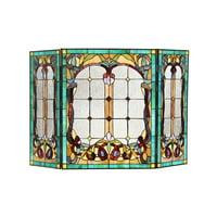CHLOE Lighting LUCIAN, Tiffany-style 3pcs Folding Victorian Fireplace Screen 44x28