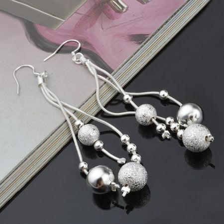 Women Silver Elegant Plated Pearl Drop Long Chain Tassel Earrings