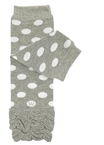 ALLYDREW Stripes, Polka Dots & Chevron Baby Leg Warmer & Toddler Leg Warmer for Boys & Girls, Gray