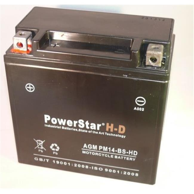 PowerStar PM14-BS-HD-107 H-D Heavy Duty Ytx14-Bs Atv Battery