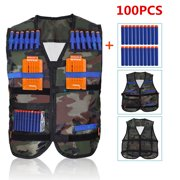 Tactical Vest Kit,Kids Elite Camouflage Tactical Vest with 100 Pcs Soft Foam Darts for Gun N-strike Elite Series (Not Including 2 Clips)