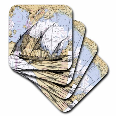 3dRose Print of San Francisco Bay With Ghost Ship - Ceramic Tile Coasters, set of 4