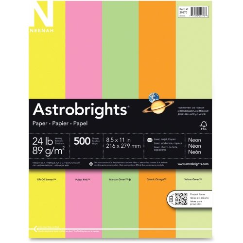 "Wausau Paper Astrobrights Colored Paper - For Laser, Inkjet Print - Letter - 8.50"" x 11"" - 24 lb - 500 / Each - Cosmic Orange, Vulcan Green, Martian Green, Pulsar Pink, Lift-off Lemon"