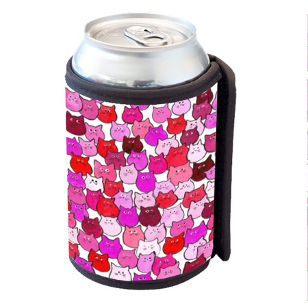 KuzmarK Insulated Drink Can Cooler Hugger - Very Hot Pink and Orange Chubby Kitties Art by Denise Every - Hot Bodies Tire Hugger