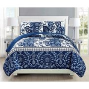 Fancy Linen 3pc Bedspread Coverlet Quilted floral White Navy Blue Over Size New #186 King/California King
