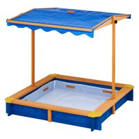 Teamson Kids - Outdoor Summer Sand Box - Wood / Blue