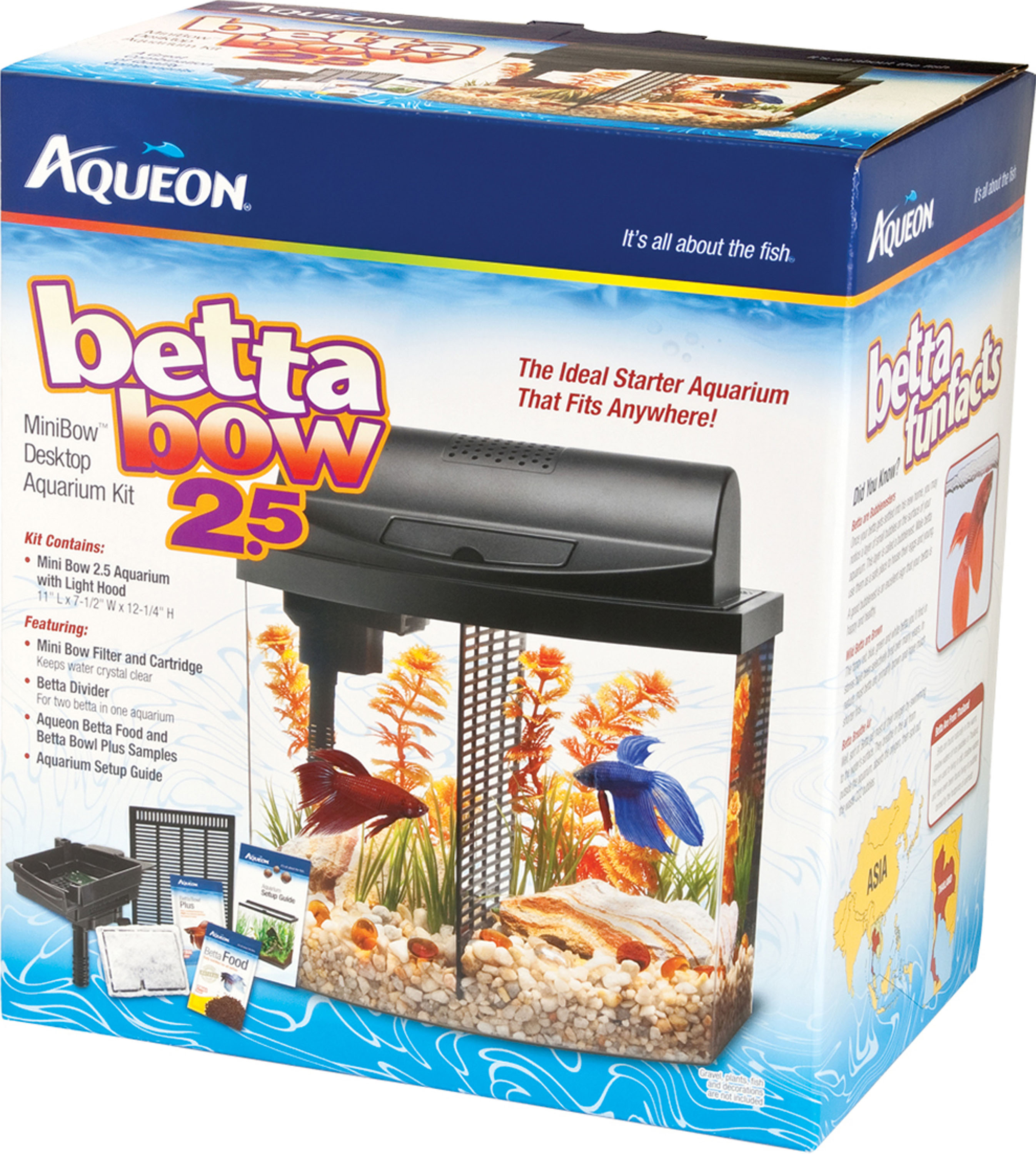 Aqueon BettaBow LED Fish Aquarium Starter Kit, 2.5 Gal by AQUEON PRODUCTS - GLASS