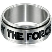Stainless Steel MAY THE FORCE BE WITH YOU Spinner Ring