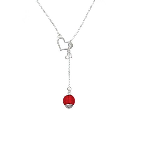 (12mm Scarlett Red Roller Spinner with Silvertone Lining Glass Spinner - In My Heart Lariat Necklace)