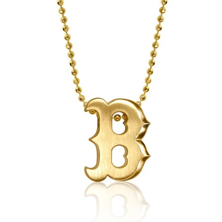 "Boston Red Sox Alex Woo Women's 16"" Little Logo 14k Yellow Gold Necklace"