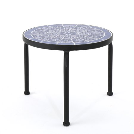 Bryan Outdoor Ceramic Tile Side Table with Iron Frame, Blue and White