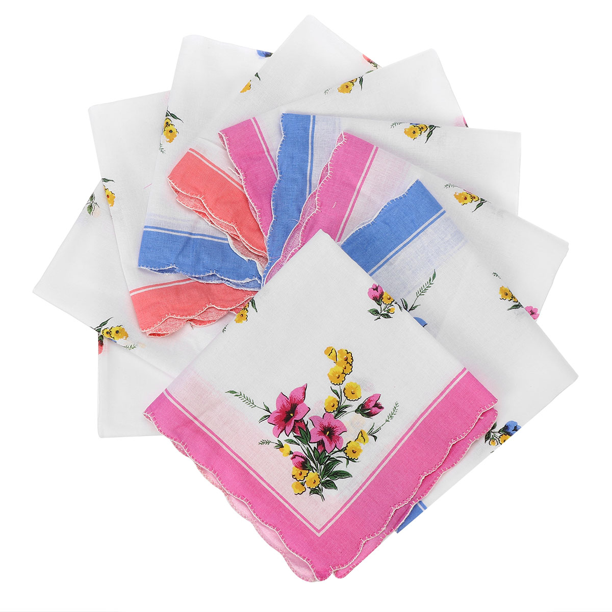 30pcs Women Floral Handkerchiefs Vintage Floral Embroidered Cotton Ladies Handkerchiefs