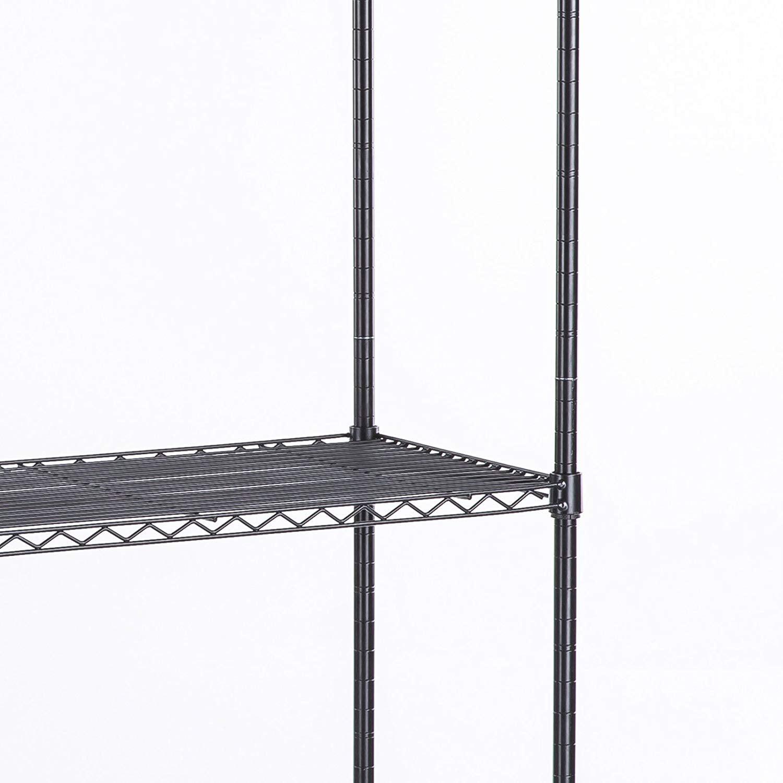 "48/""L x 18/""W x 82/"" 6 Tier Shelf Adjustable Wire Metal Shelving Rack 76 black A1"