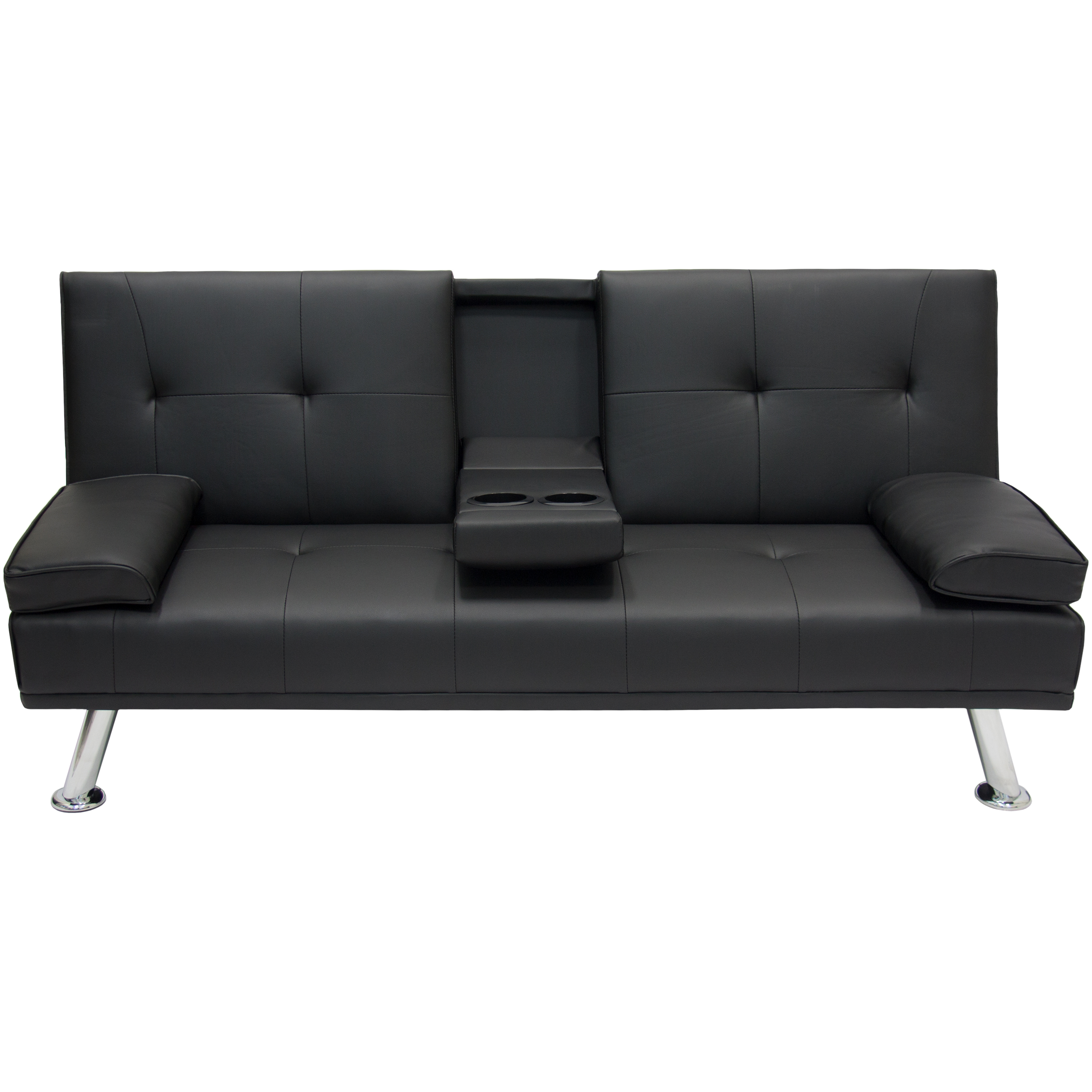 Click here to buy Best Choice Products Modern Entertainment Futon Sofa Bed Fold Up & Down Recliner Couch With Cup Holders Furniture.