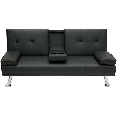 Best Choice Products Modern Entertainment Futon Sofa Bed Fold Up   Down Recliner Couch With Cup Holders Furniture