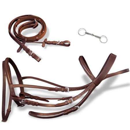 Brown Flash Bridle with Reins and Bit Leather Brown Full