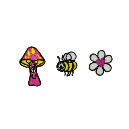 Bee Applique - Set of 3 Hippie Nature Patches Mushroom Bee Flower Embroidered Iron On Applique