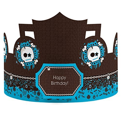Boy Skull - Crown Happy Birthday Party Hats - 8 Count