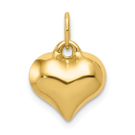 14k Yellow Gold Hollow Polished Puffed Heart Charm - .4 Grams - Measures 11.3x14.6mm