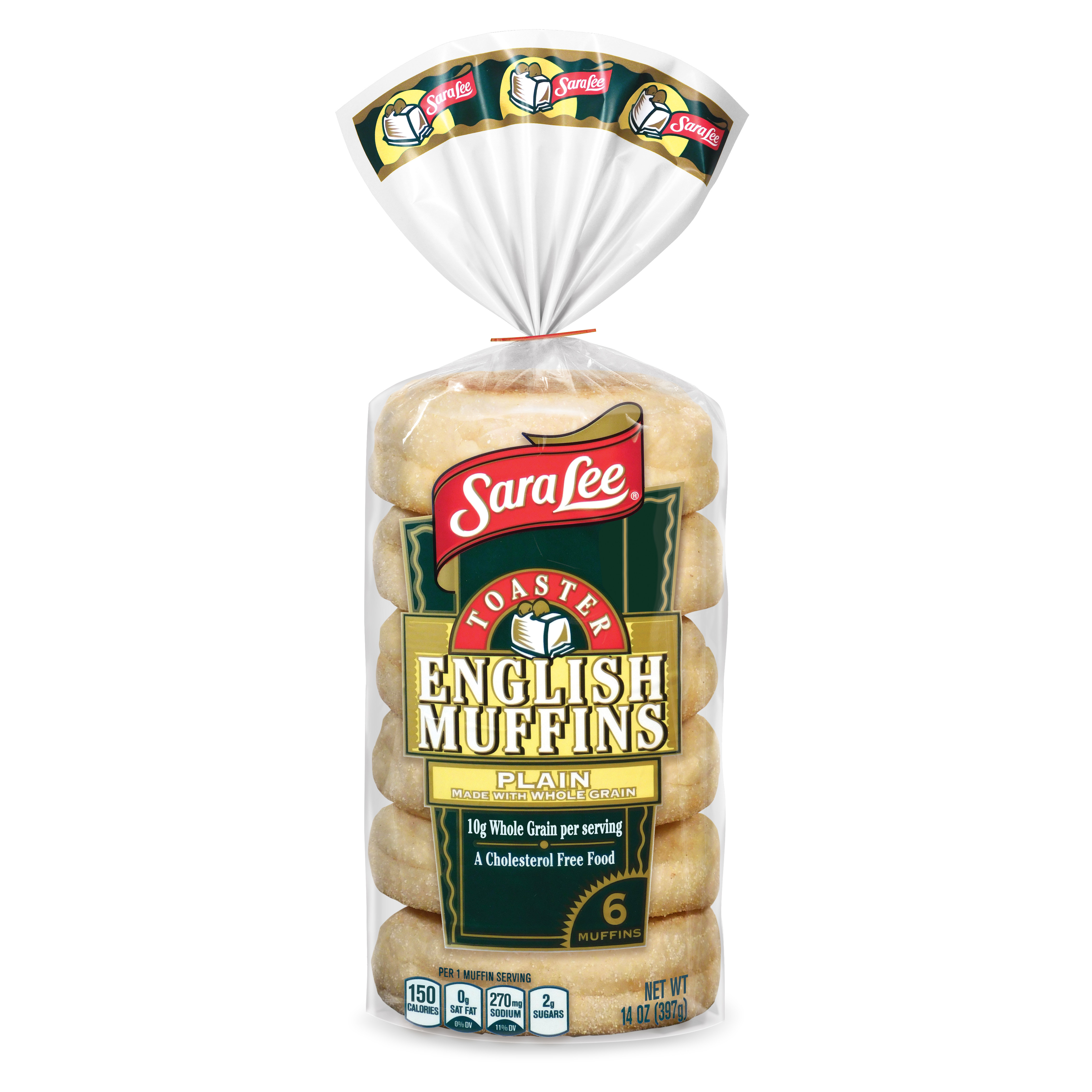 Sara Lee Toaster English Muffins Whole Grain Plain 6 Ct 14oz