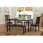 6 Pc Rectangular Dining Table Set W Padded Bench Amp Chairs