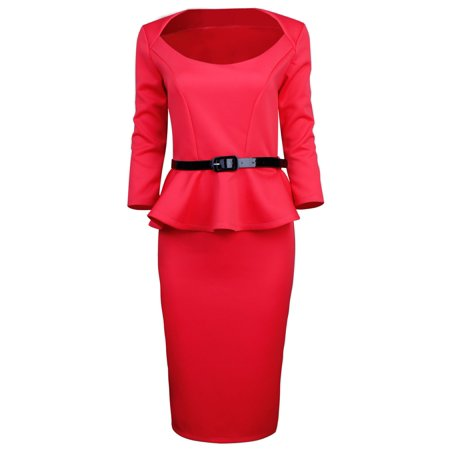 TAM WARE Women Classic Long Sleeve Belted Peplum Midi Dress