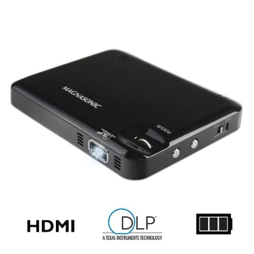 "Magnasonic LED Pocket Pico Video Projector, HDMI, Battery, Speaker, 60"" Display for Movies, Presentations, Laptops"