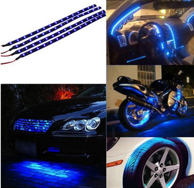 New 24 LED Waterproof Flexible Durable Car Vehicle Red Light Strip DT