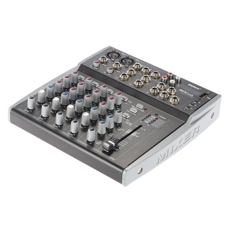 Professional 8 Channels 3-Band EQ Audio Music Mixer Mixing Console with USB XLR LINE Input 48V Phantom Power for Recording DJ Stage Karaoke Channel Audio Mixing Console